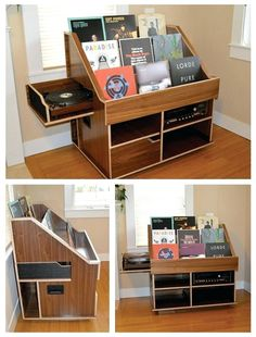 Handmade record player and vinyl collection display storage cabinet by the Hi-Phile Record Cabinet Company. Handmade record player and vinyl collection display storage cabinet by the Hi-Phile Record Cabinet Company. Vinyl Record Display, Record Shelf, Vinyl Record Storage, Record Wall, Lp Storage, Record Stand, Storage Ideas, Vinyl Record Cabinet, Stockage Record