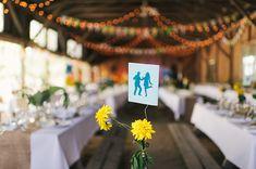 table numbers - photo by Sara Wilde http://ruffledblog.com/pucks-farm-wedding