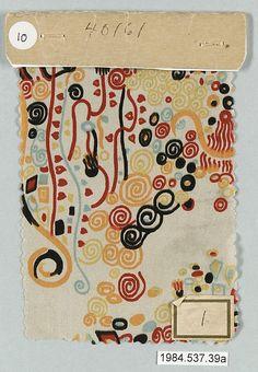 Textile sample Gustav Klimt (Austrian, Baumgarten 1862–1918 Vienna) Manufacturer: Wiener Werkstätte Date: ca. 1920. xox