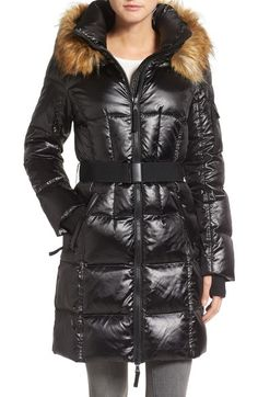 Main Image - S13 'Nolita' Quilted Coat with Faux Fur Trim