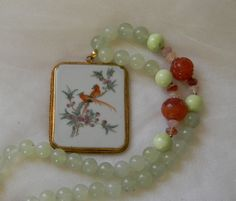 Painted china pendant w jade beads &  agate charms necklace , beaded jewelry , unusual jewelry , Chinese framed hand painted china pendant by TheJadeMerchant on Etsy