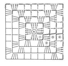 Ажурные квадраты крючком,схема.