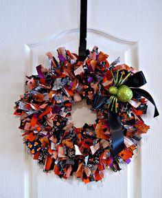 cute halloween rag wreath