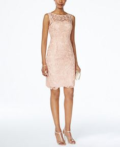 Nothing's as elegant or alluring as lace for an evening affair, and Adrianna Papell's chic sheath is case in point. The sheer overlay at the chest and scalloped hem are flirty-yet-refined touches. | P
