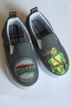 Teenage Mutant Ninja Turtles Painted Shoes. $60.00, via Etsy.
