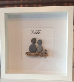 LOVE Couple Pebble Art Heart Shaped Rock Mounted Box Frame £15