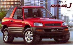 プラモデルの箱絵:TOYOTA RAV4 J/1994年。 モノコック構造の SUV としてデビュー。