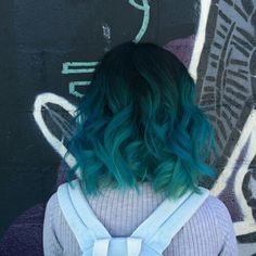 22 Popular Medium Hairstyles for Women 2017 - Shoulder Length Hair Ideas/blue hair/teal hair/color hair/ Hair Color Blue, Cool Hair Color, Dark Teal Hair, Ombre Colour, Blue Green Hair, Crazy Color Peacock Blue, Hipster Hair Color, Hair Goals Color, Green Hair Colors