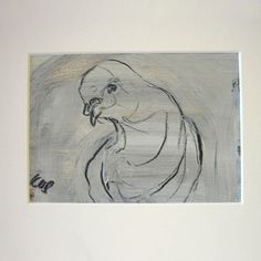 Pigeon  original drawing in oil and charcoal by namelesswonders, $65.00