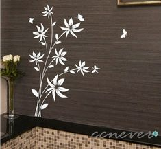 45inch H flowers butterflyart Graphic removable Vinyl by ccnever, $45.00