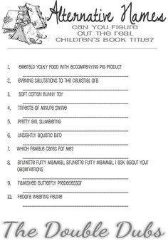 A fun alternative to cheesy baby shower games! Guess the correct book title that corresponds to the funny alternative na Book Shower, Storybook Baby Shower, Library Themes, Cooking Humor, Alternative Names, Baby Shower Table Decorations, Funny Names, Virtual Baby Shower, Baby Shower Games