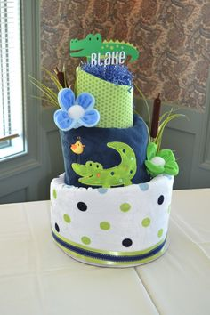 Diaper Cake for Alligator Baby Shower by Baby Blossom Co.