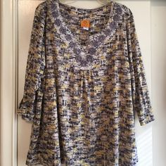 Print blouse with roses & sparkles at neckline Print blouse Ruby Rd. Tops Blouses
