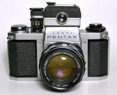 Pentax SV (2nd variant) single lens reflex (SLR) 35mm camera. Manufactured by Asahi Optical Company, Japan from 1964-1968. The original SV model was introduced in 1962. Shown with the Pentax clip-on meter (later version.)