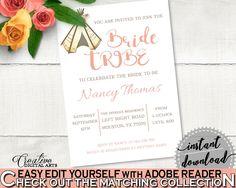 Invitation Bridal Shower Invitation Tribal Bridal Shower Invitation Bridal Shower Tribal Invitation Pink Brown shower activity 9ENSG - Digital Product #bride #bridal