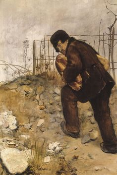 "Jean-François Raffaëlli:  ""Man with two loaves of bread"", 1879."