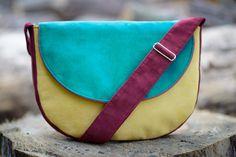 MIDI series - yellow / burgundy / emerald messenger bag, midi crossbody bag
