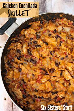 Chicken and Black Bean Enchilada Skillet -- chicken, black beans, rotel, enchilada sauce, onion