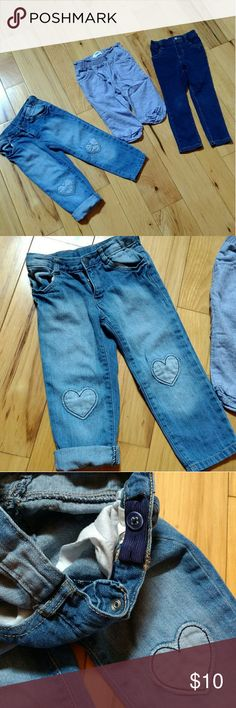 3 pairs of jeans Brands are Crazy 8, Old Navy, and Children's Place. All are in perfect condition except for a tiny mark on the knee of the jeggings from a fall (last pic). Heart jeans have adjustable waist. Middle pair are linen joggers! So cute! Old Navy Bottoms
