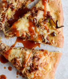 Pulled Pork Pizza With Maple Leeks, Roasted Garlic And Aged Cheddar