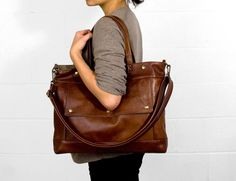 Archive Bag in Dark Shadow Gray Waxed Canvas  by jennyndesign, on Etsy