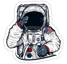 Skateboards Discover Apollo Lunar Mission Astronaut Illustration (SPACE YO) Sticker by Fragoutdesign Preppy Stickers, Cute Laptop Stickers, Bubble Stickers, Cool Stickers, Printable Stickers, Planner Stickers, Macbook Decal Stickers, Astronaut Illustration, Astronaut Drawing