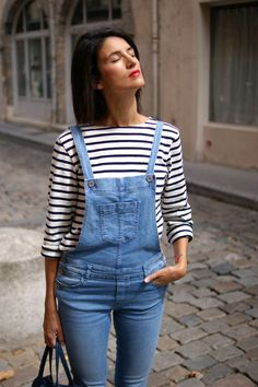 Salopette jean skinny Sessun et marinière Saint James #denim #overalls