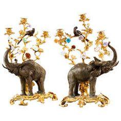 Pair of Bronze and Gilt Bronze Elephant Candelabra