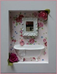 Mini Quadrinho Lavabo Banheira - Floral