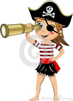 pirate cartoon boy telescope