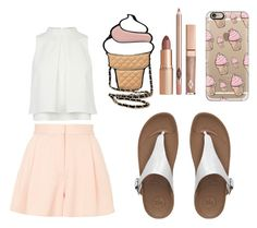 """Ice-cream Queen"" by leah-the-lemon on Polyvore featuring FitFlop, Casetify and Topshop"