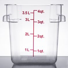 Keep your fruits, vegetables, sauces, spices, ingredients, and more fresh with this 4 qt. clear square food storage container. Made of crystal-clear, break-resistant polycarbonate, this container is perfect for commercial kitchens. This container's square design is ideal for compact stacking and storage. Red gradations along the container's exterior assist in measuring food and accurately accessing inventory. Use a lid (sold separately) to preserve your product's freshness and guard it…