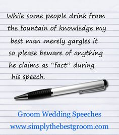 "Delivering a perfect best man wedding speech is a challenging responsibility for many men. While developing such a Best Man's Speech, one of the main dilemmas many ""Best Men"" face is to decide on whether to crack everyone up or to kee Wedding Speech Quotes, Groom Wedding Speech, Best Man Wedding Speeches, Wedding Humor, Wedding Vows, Wedding Readings, Wedding Reception, Wedding Stuff, Dream Wedding"