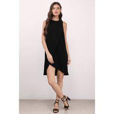 Tobi Magdalena Overlay Shift Dress (€55) ❤ liked on Polyvore featuring dresses, black, tobi dresses, shift dress, overlay dress, structured dress and double layer dress