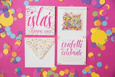 Confetti-themed first birthday party invitation
