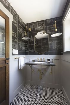 Interior Design by Holly Hollenbeck of HSH Interiors   Photography by David Duncan Livingston   Modern Sanctuary   A 1930s Church is Transformed Into A Chic Family Home   Bathroom   Traditional Bathroom   Powder Room   Walllpaper   Lighting