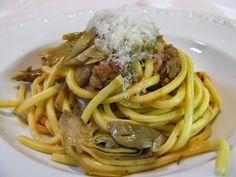 Bigoli ai carciofi e salsiccia - Pasta
