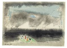 TINY AND WONDERING SOULS By Lyonel Feininger Artwork Description Dimensions: 20.2 x 28 cm Medium: Watercolour and pen and ink on chamois-coloured laid paper Creation Date: 1947