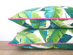 Tropical outdoor pillow cover, palm leaf pillow pink piping, green outdoor cushion palm tree, coastal cushion, pink outdoor pillow by anitascasa on Etsy https://www.etsy.com/listing/229595464/tropical-outdoor-pillow-cover-palm-leaf