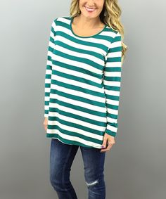 Love this Green & White Stripe Tunic by Coco and Main on #zulily! #zulilyfinds