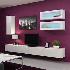 High Gloss TV Wall Unit LED/Floating Wall Mountable Unit / TV Stand VIGO 11