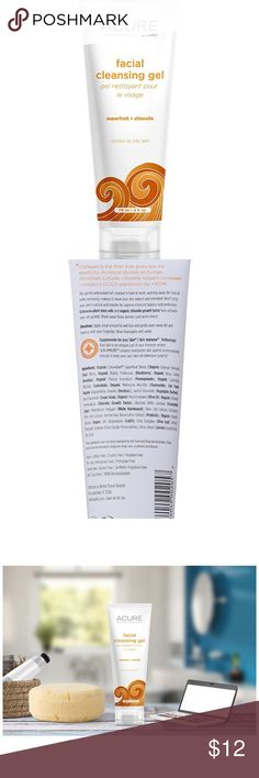 Organic Acure Facial Cleansing Gel This gentle antioxidant rich cleanser is hard at work, washing away dirt and oil while removing makeup to leave your skin radiant and refreshed. Wash away those worries! Features & details Purifies and cleanses without drying Removes makeup Helps maintain skin's natural acid mantle Acure Makeup