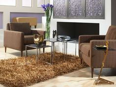 Chic living room, living room design, brown living room, brown sofa, Genevieve with Zig Zag Living Room