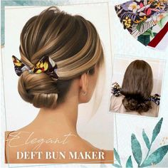 The Deft bun maker is a bendable hair tool that holds hair up stylishly all day long. Just clamp your hair with the bun maker, roll up and bend it into a perfect bun in seconds! Fast Hairstyles, Elegant Hairstyles, Hairstyles With Bangs, Pixie Hairstyles, Hair Tutorials For Medium Hair, Medium Hair Styles, Curly Hair Styles, Voluminous Ponytail, Elegant Bun