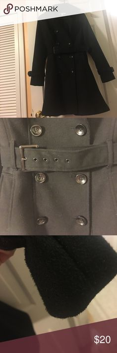New York and company peacoat Black. Great button and belt detail. Flares on bottom to give it an extra special look. There is some piling in several places but I feel it doesn't take away from the look of the coat. Hole in right pocket but that can be fixed. Great coat just doesn't fit me anymore:( Jackets & Coats Pea Coats