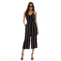 AX Paris Striped Culotte Tie Waist Jumpsuit ($47) ❤ liked on Polyvore featuring jumpsuits, white jump suit, ax paris, striped jumpsuit, white jumpsuit and jump suit