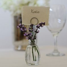 Glass Bud Vase Name Card Holders - Set Of 4