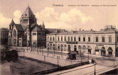 Strasbourg ancienne gare de la Compagnie de l'Est vers 1900. L'ancienne gare de Strasbourg, parfois appelée gare du Marais-Vert1, était une gare ferroviaire située à proximité directe du centre de Strasbourg. Construite comme terminus de la ligne de Paris à Strasbourg en 1854, elle est désaffectée dans les années 1880, utilisée comme marché couvert de la ville puis détruite au début des années 1970. Elle se trouvait à l'emplacement de l'actuel centre commercial Place des Halles.