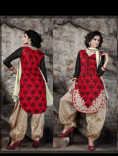 THANKAR EMBROIDERED RED AND CREAM PATIYALA STYLE SALWAR KAMEEZ #patiala #salwarsuit #salwarkameez #dresses #shopping #clothing get more details, visit: http://www.thankar.com Contact Us: +91-9978289000 Email: support@thankar.com