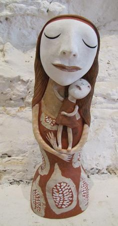 'Mother ' handand coloured ceramic by Sally Curry Tasmania dimensions : 37cm h year : 2011 Sold